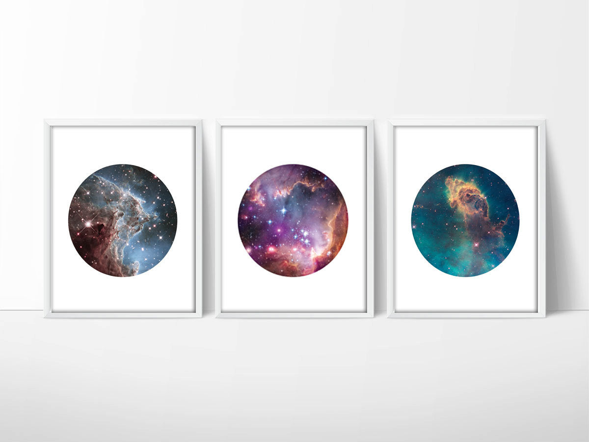 Set of 3 Hubble Telescope Space Prints