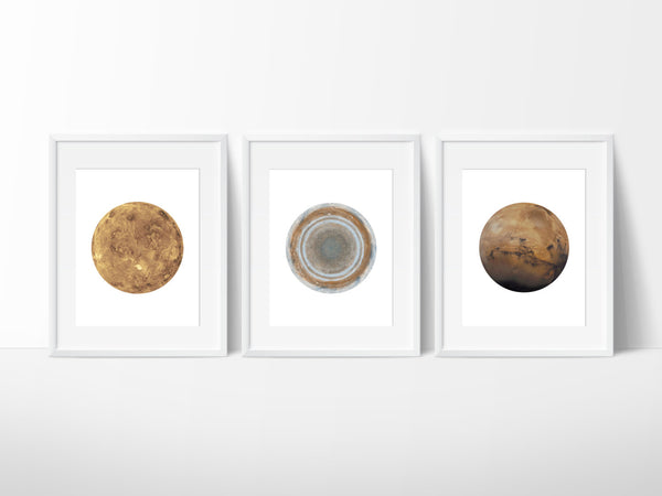 Set of 3 Planet Prints