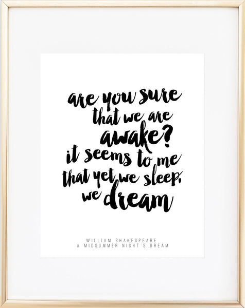 Shakespeare Quote - A Midsummer Night's Dream