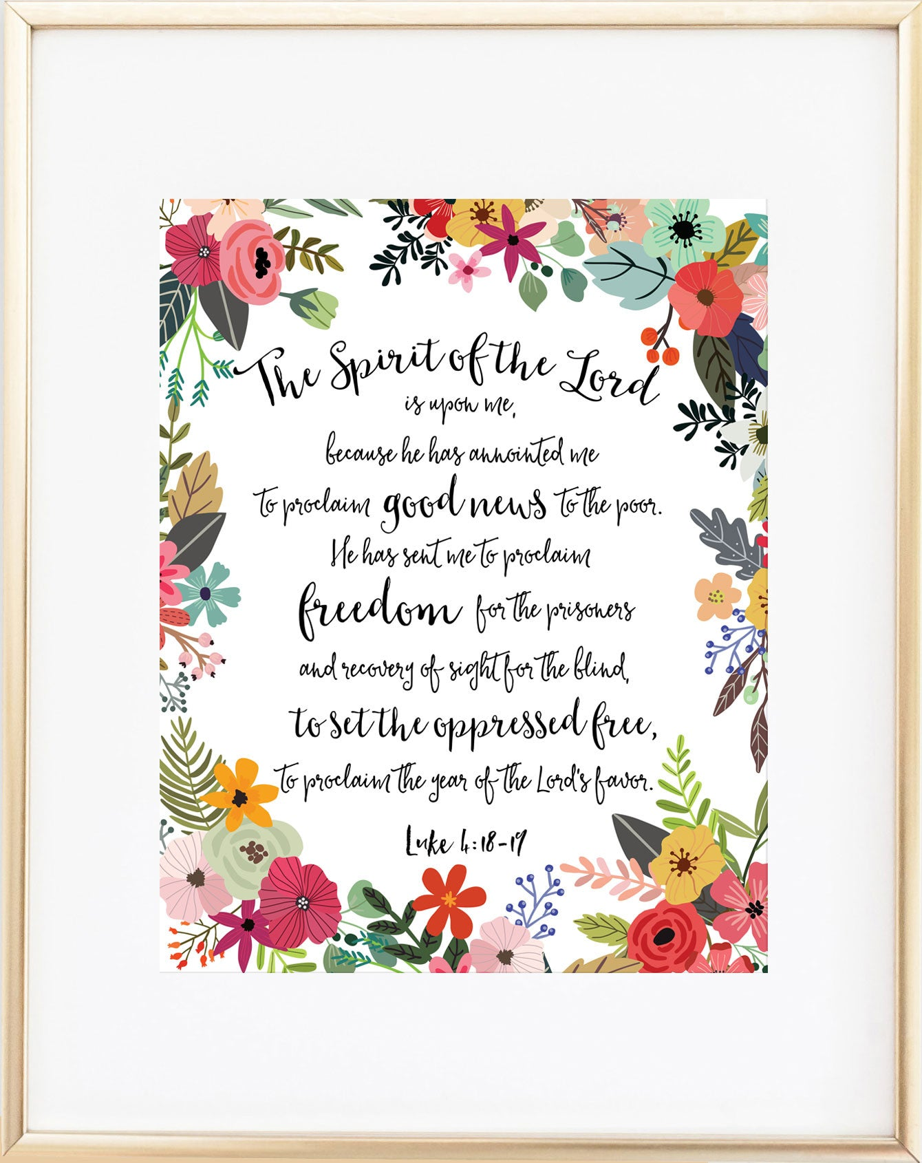 The Spirit of the Lord Is Upon Me Luke 4 18 Print