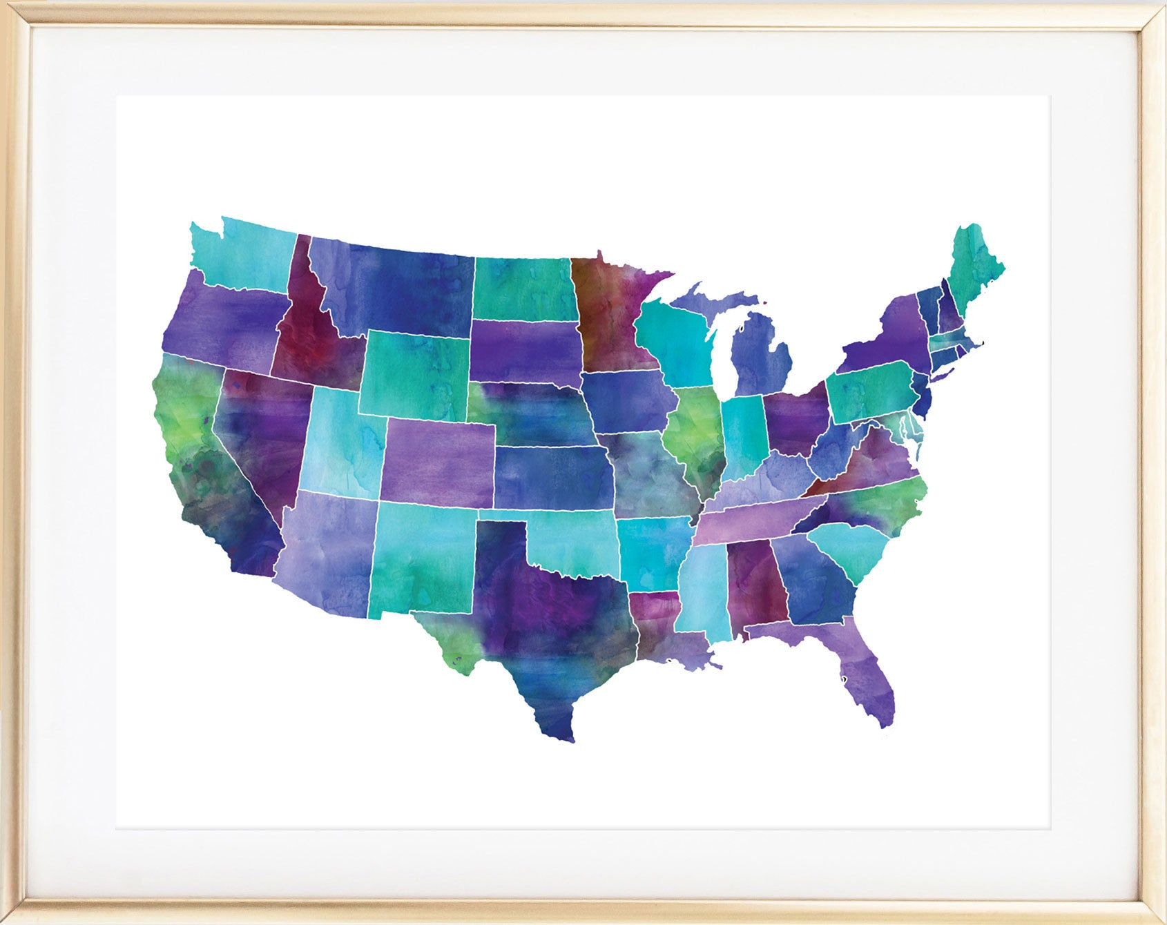 Watercolor United States Map Print Mad Kitty Media - Watercolor us map