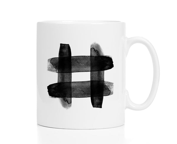 Black Watercolor Hashtag Mug
