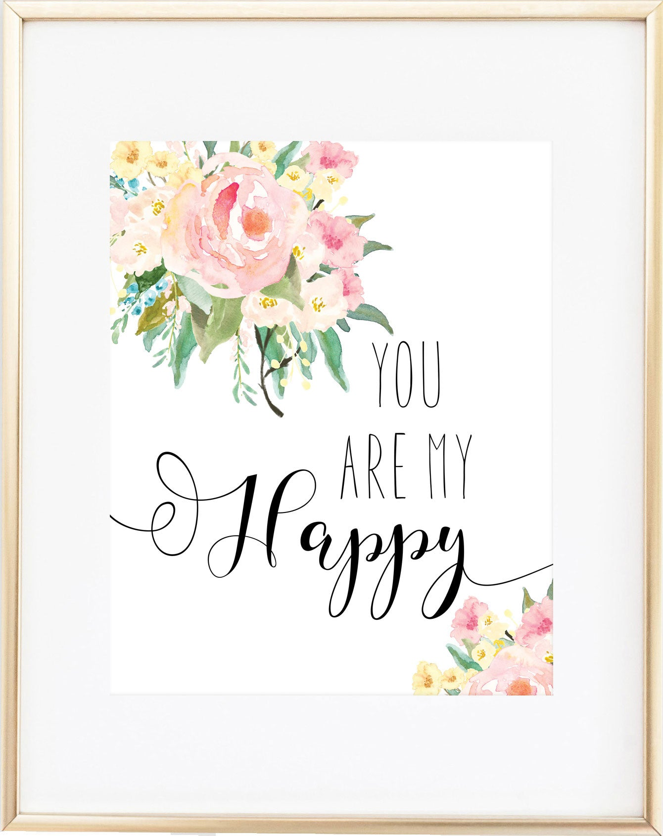 You Are My Happy Print -- Girl Nursery Wall Art