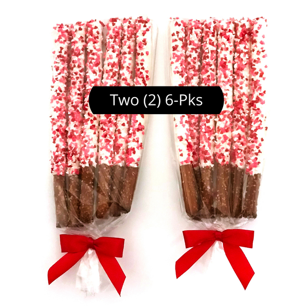 Thinking of You / I Love You / Valentine's Day White Chocolate Pretzel Rods with Heart Sprinkles