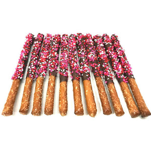 Valentine's Day Chocolate Pretzel Rods with Heart Sprinkles