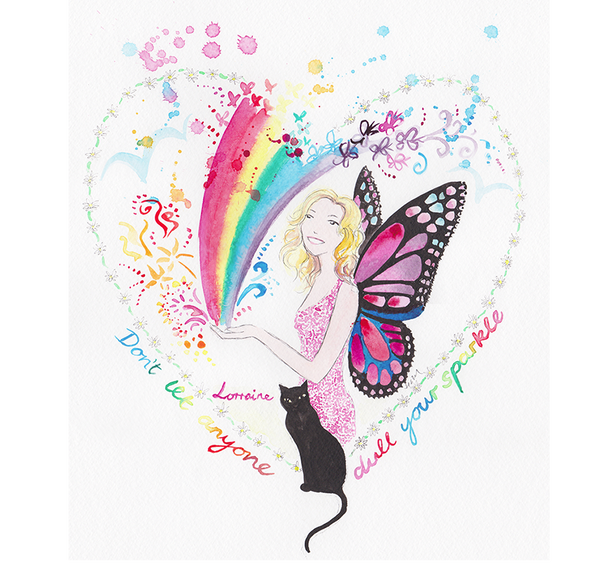 Butterfly rainbow heart