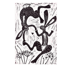 Hareials linocut print from the Dancing Animal series by Hazel McNab