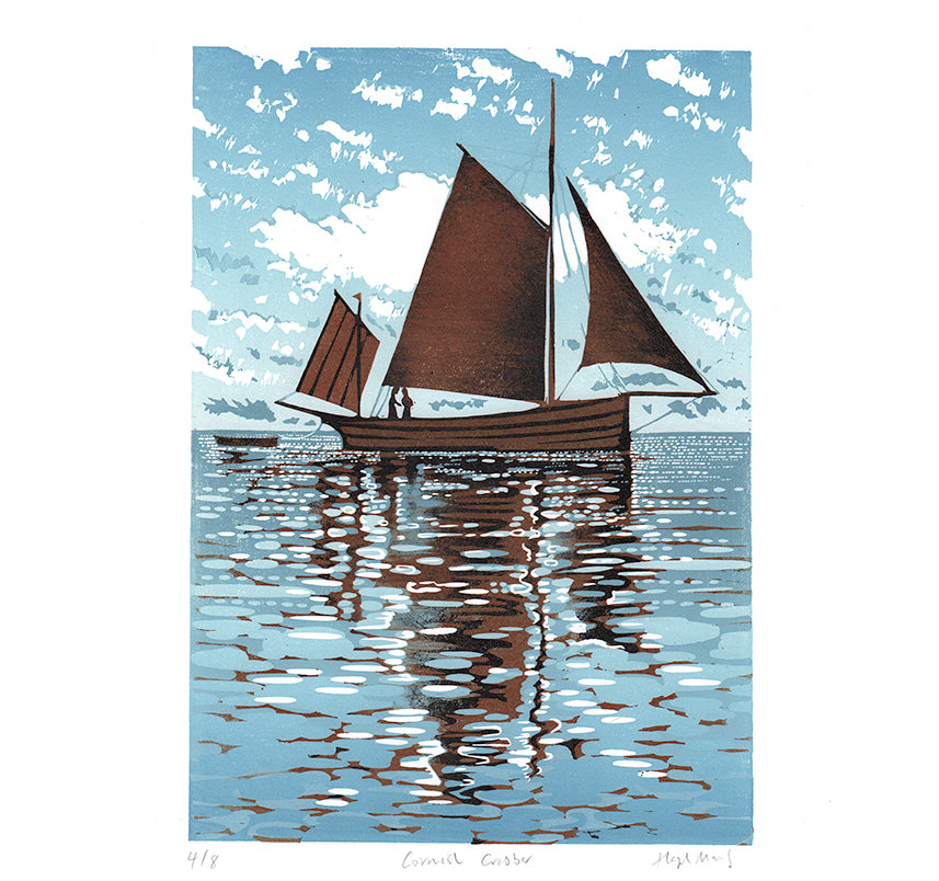 Cornish Crabber - Blue giclee