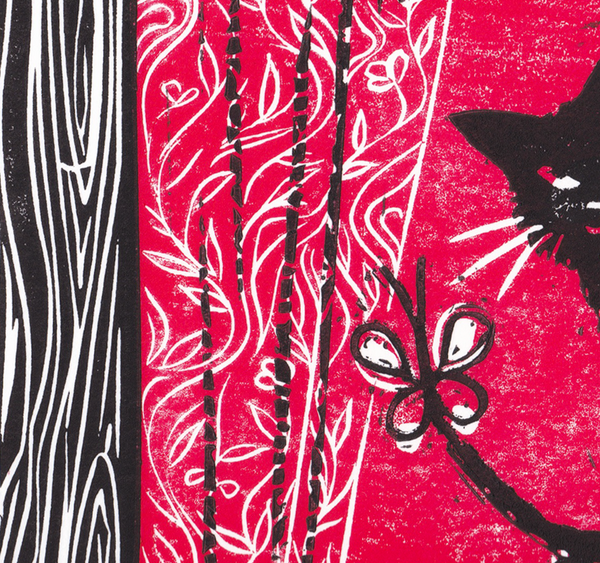Courageous you in red. Linocut print by Hazel McNab