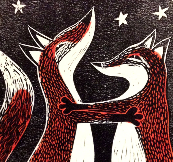 Detail of Fox Trot, two foxes dancing under the stars. Linocut print.