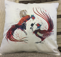 cushion printed with pheasants