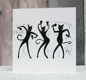 Chat Chat Chat dancing cats greeting card