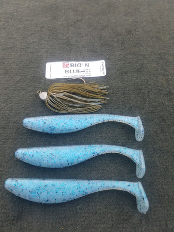 Catch 5 Big' N Swimming Jig - Blue (1 jig & 3 Swim Baits in package)