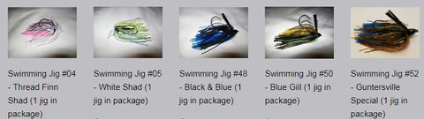 Variety Pack - Swimming Jigs (1 each of 5 different jigs in the package, total of 5 jigs)