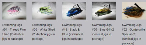 Variety Pack - Swimming Jigs (2 each of 5 different jigs in the package, total of 10 jigs)