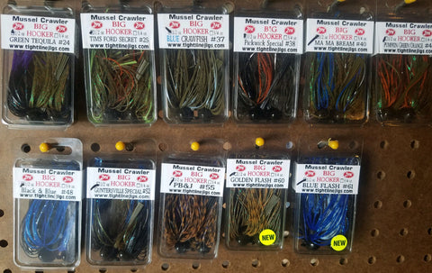 Variety Pack - Football Jigs (Big Hooker) with skirts (2 each of 11 different jigs in the package, total of 22 jigs)