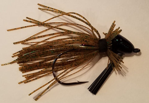 Wood Thumper Jig #45 - Pumpkin with Green Flake (1 jig in package)