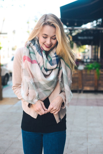 Light Pink Blanket Scarf- CLEARANCE