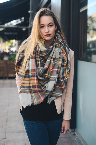 Grey/Mustard Blanket Scarf- CLEARANCE