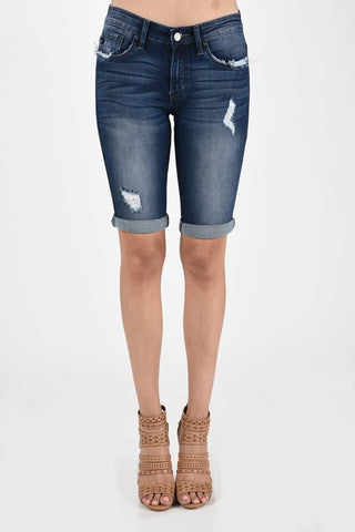 Dark Distressed Bermuda Shorts