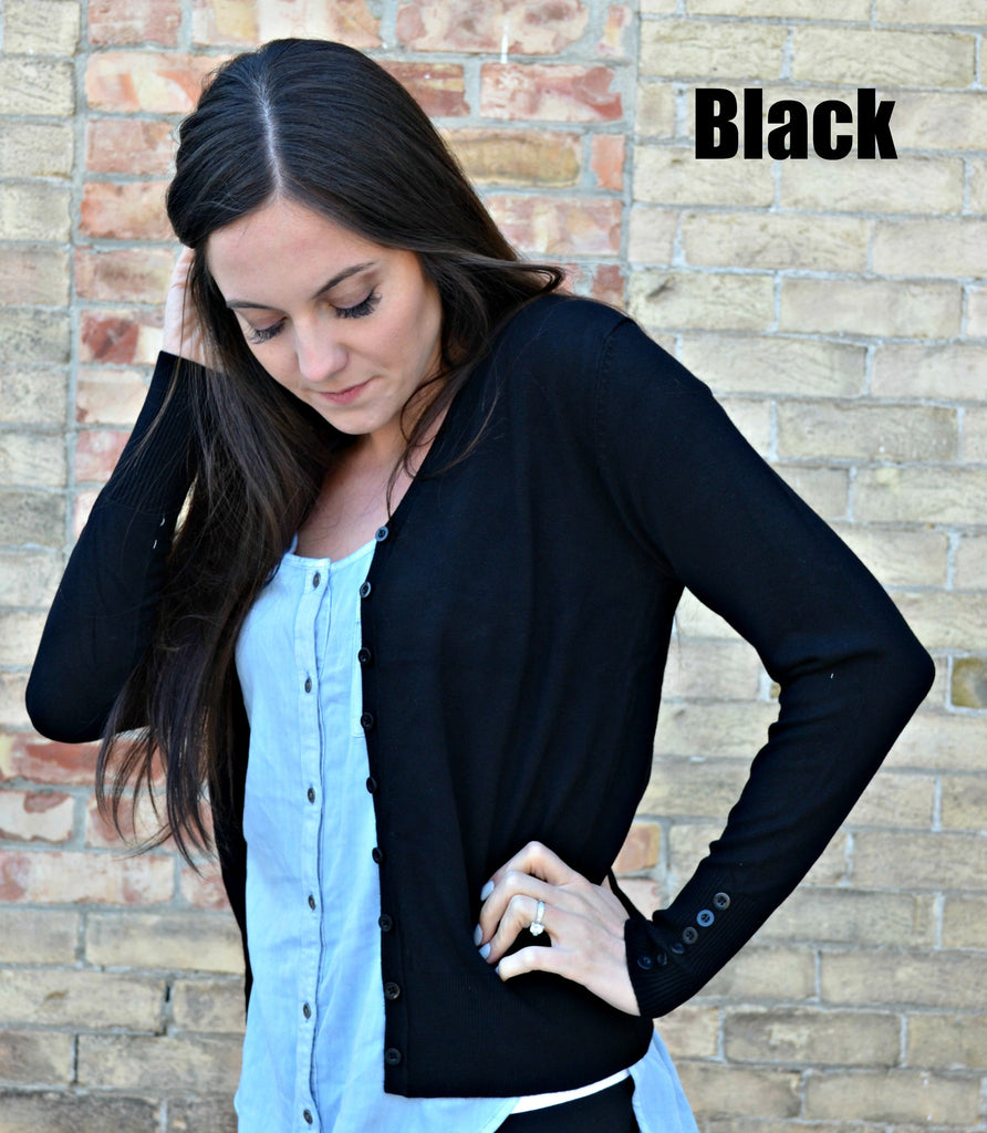 Button Sleeve Basic Cardigan- Black