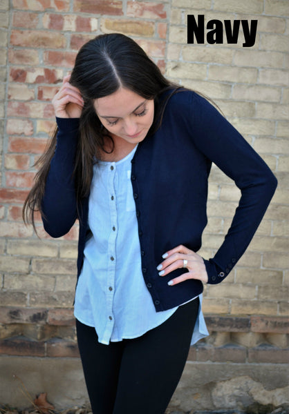 Button Sleeve Basic Cardigan- Navy
