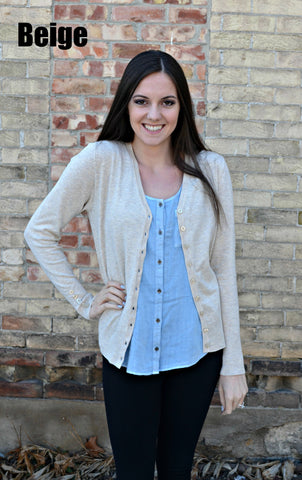Button Sleeve Basic Cardigan- Beige