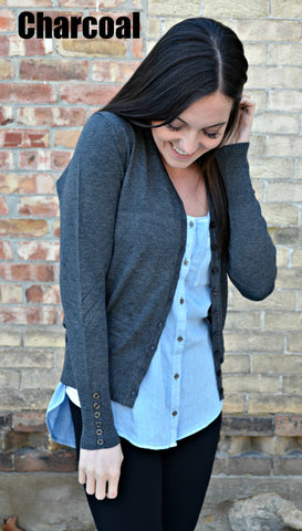 Button Sleeve Basic Cardigan- Charcoal