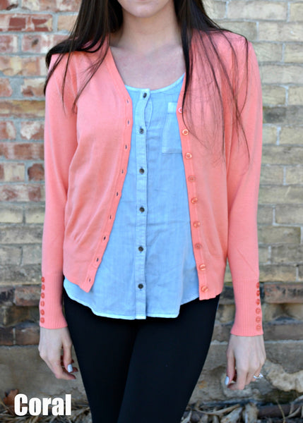 Button Sleeve Basic Cardigan- Coral
