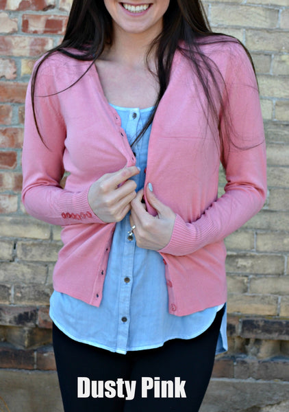 Button Sleeve Basic Cardigan- Dusty Pink