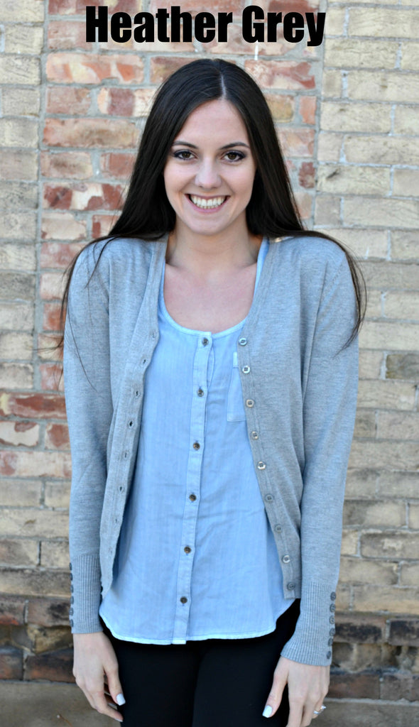 Button Sleeve Basic Cardigan- Heather Grey