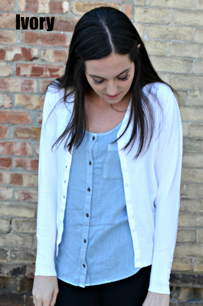 Button Sleeve Basic Cardigan- Ivory