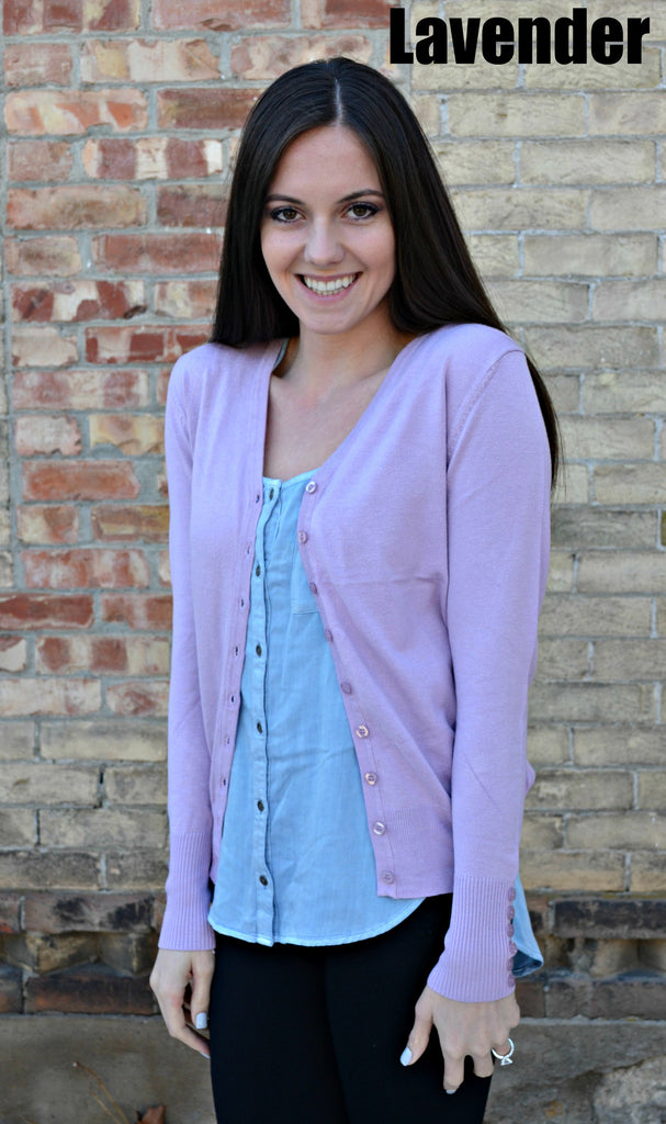 Button Sleeve Basic Cardigan- Lavender