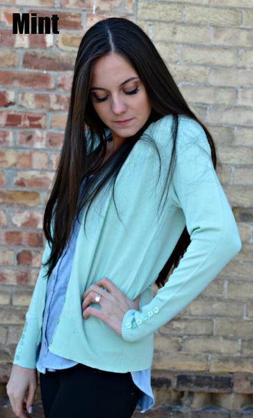 Button Sleeve Basic Cardigan- Mint