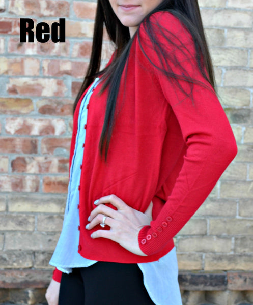 Button Sleeve Basic Cardigan- Red