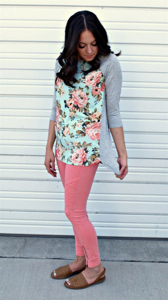 Floral Baseball Tees- 3 colors | small-3X