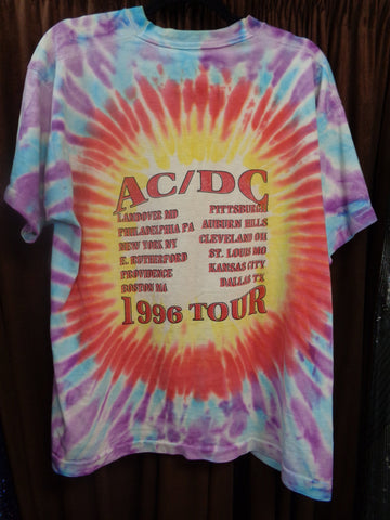 ACDC, Heavy METAL Music,1996 Ball Breaker Tour,Malcolm & Angus Young, Tie Dye,Silk Screen,Vintage Concert T-Shirt,Head Banging, Rock and Roll
