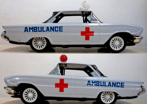 Nice AMBULANCE, Vintage Tin Litho Toy Car, Friction Powered, Siren & Moving Lights, Mint in box