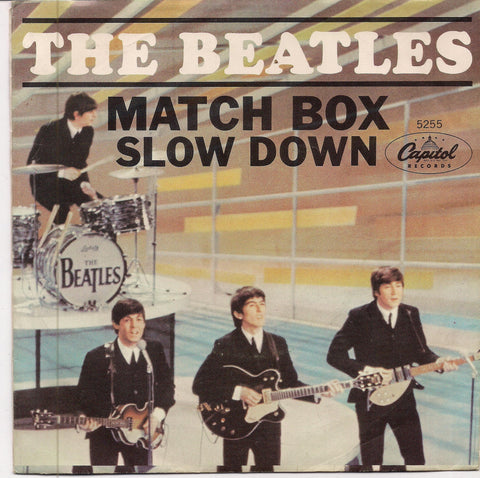 "BEATLEmania! 7"" Picture Sleeve,MATCH BOX,Slow Down,John Lennon,Paul McCartney,George Harrison,Ringo Starr,British Invasion"