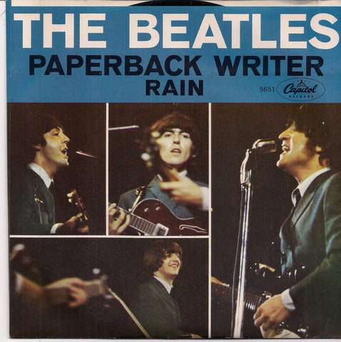 "BEATLEmania! 7"" Picture Sleeve,Paperback Writer, RAIN,John Lennon,Paul McCartney,George Harrison,Ringo Starr,British Invasion"