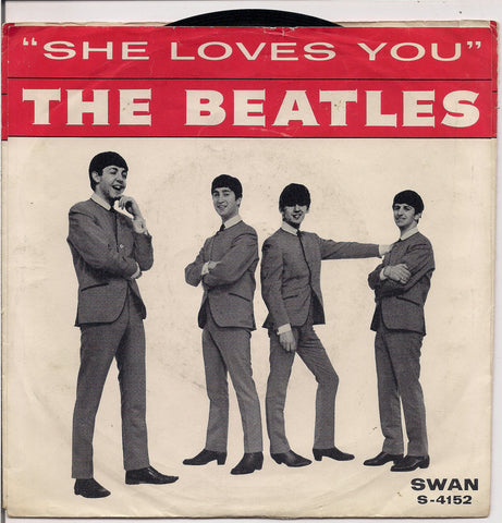 "BEATLEmania! 7"" Picture Sleeve Beatles,She Loves You-I'll Get You B,John Lennon,Paul McCartney,George Harrison,Ringo Starr,British Invasion"