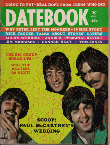 BEATLEmania! Rare DATEBOOK Magazine,July 1969,BEATLES Break-Up,Linda Eastman, Monkees,Jim Morrison,British Invasion,Rock and Roll Music
