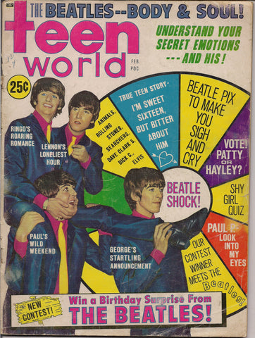 BEATLEmania! Teen World Magazine,Feb 1965,BEATLES,Elvis,Animals,Searchers,Dave Clark 5,Patty Duke,British Invasion,Rock and Roll Music