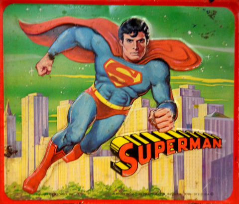 DC Comics, SUPERMAN The Motion Picture,Vintage Metal Aladdin Lunchbox,1978,Margot Kidder,Christopher Reeve,Marlon Brando,Krypton