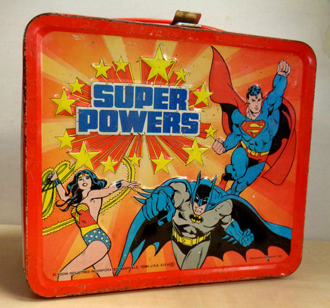 DC Comics, SUPER POWERS,Aladdin Metal Lunchbox,1983,Superman,Wonder Woman,Batman,Robin,Justice League, Gotham,Jerry Siegel, Joe Shuster,Dcu