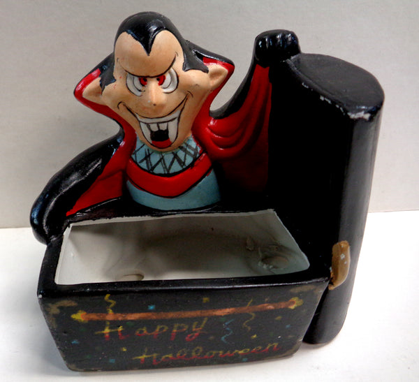 1989, Cute DRACULA Kitchy VAMPIRE Planter,or Trinket box, or HALLOWEEN Candy Dispenser, Design House Inc