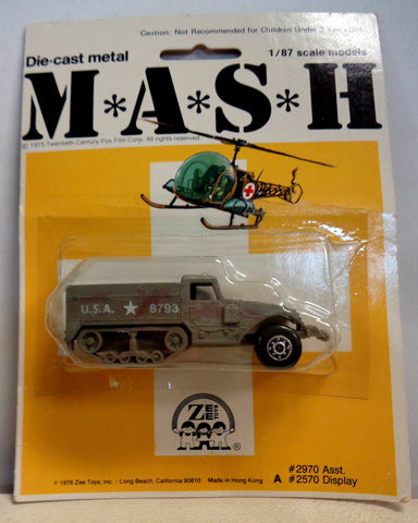 MASH 4077 TV Series,1/87 scale,Die Cast Metal,1976,Half-Track Truck,Mint in Package,NRFB,Zee Toys,Mobile Army Surgical Hospital,M*A*S*H