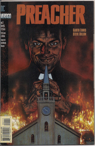 PREACHER #1, Garth Ennis,Steve Dillon, 1st Appearance of Jesse Custer,The Saint of Killers,Cassidy,Tulip,DC Comics Vertigo Press