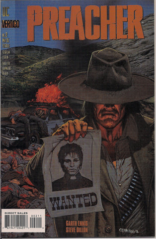 PREACHER #2, Garth Ennis,Steve Dillon,1st Arseface, Eugene Root,Jesse Custer,The Saint of Killers,Cassidy,Tulip,DC Comics Vertigo Press