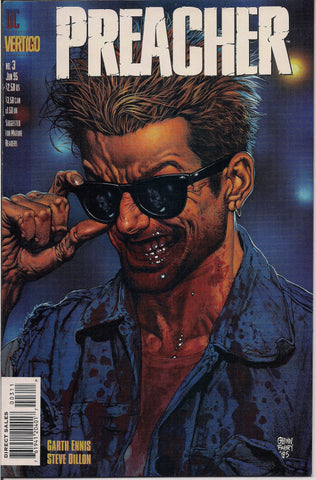 PREACHER #3, Garth Ennis,Steve Dillon,Jesse Custer,The Saint of Killers,Cassidy,Tulip,DC Comics Vertigo Press